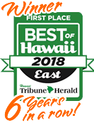Winner 6 Years in row! Best of East Hawaii 2018